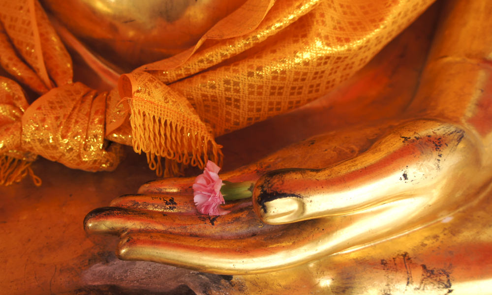 Kanchanaburi and River Kwai tour? golden Buddha with a rose flower