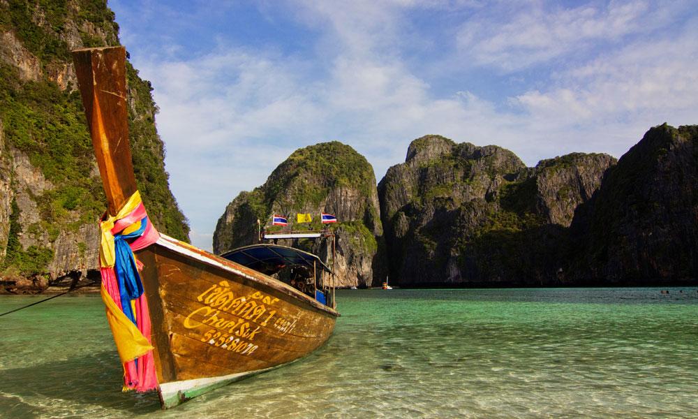 2-week Thailand tour: boat on phuket beach