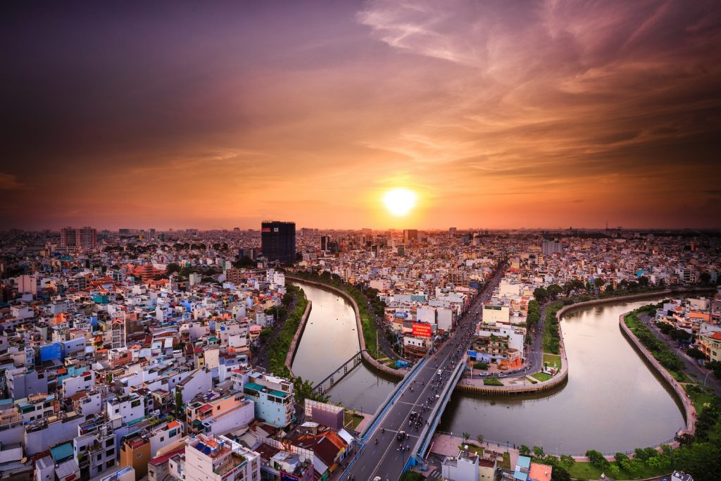 Saigon at sunset in Vietnam