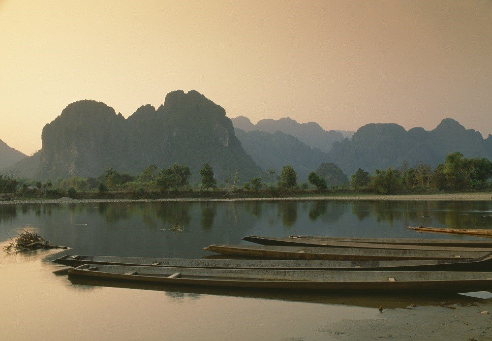 Nam Song river at sunset, in Laos