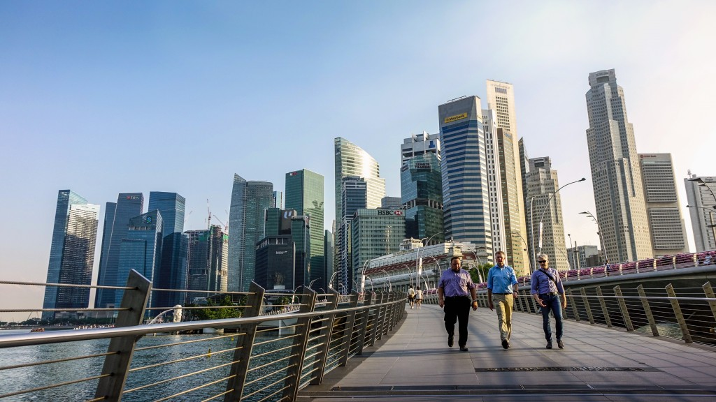 Icons of Singapore: men walking in Civic District