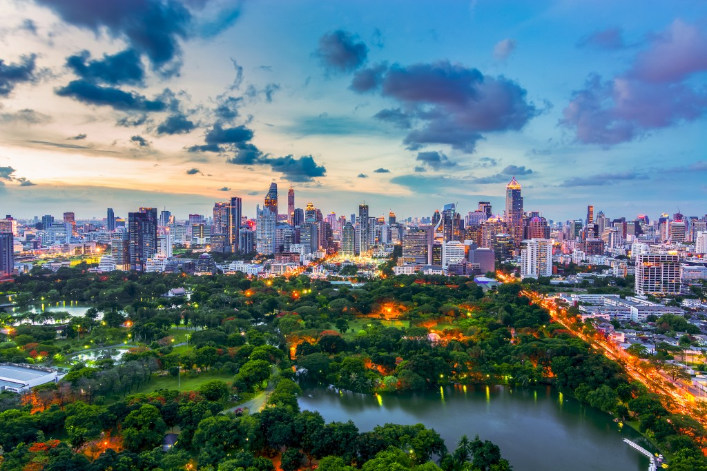 After sunset Bangkok cityscape top view