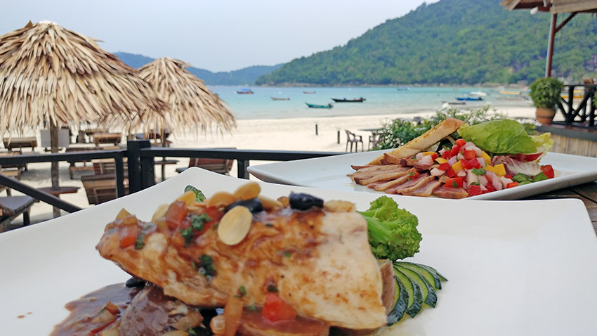 Seafood on the beach at Perhentian Islands, Malaysia