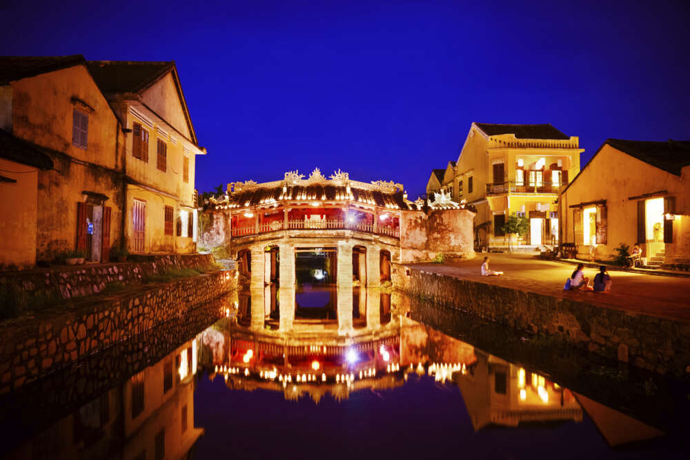 Japanese bridge at night, in HoiAn, Vietnam