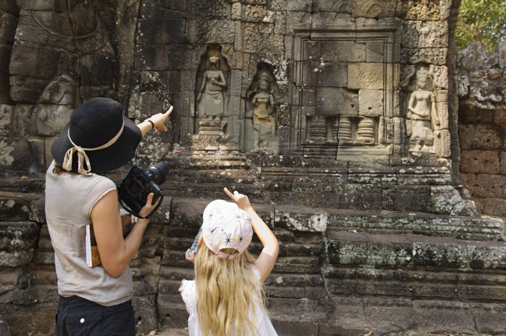 Cambodia with kids: mother and kit in a temple