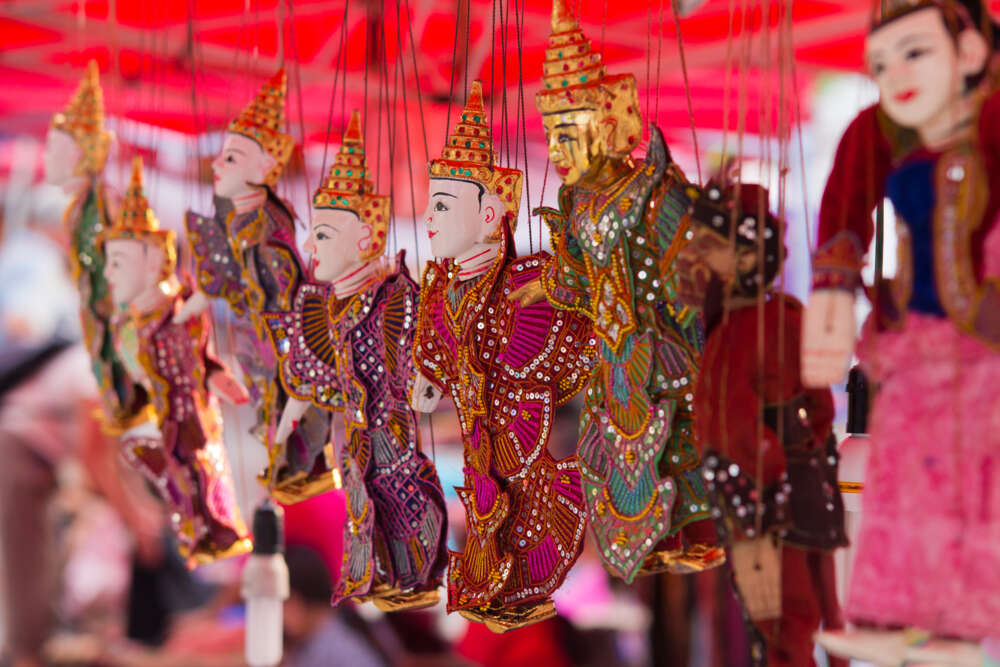 Travel and tour in Myanmar: Colorful Puppets