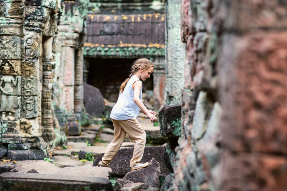 Child play in a ancient temple