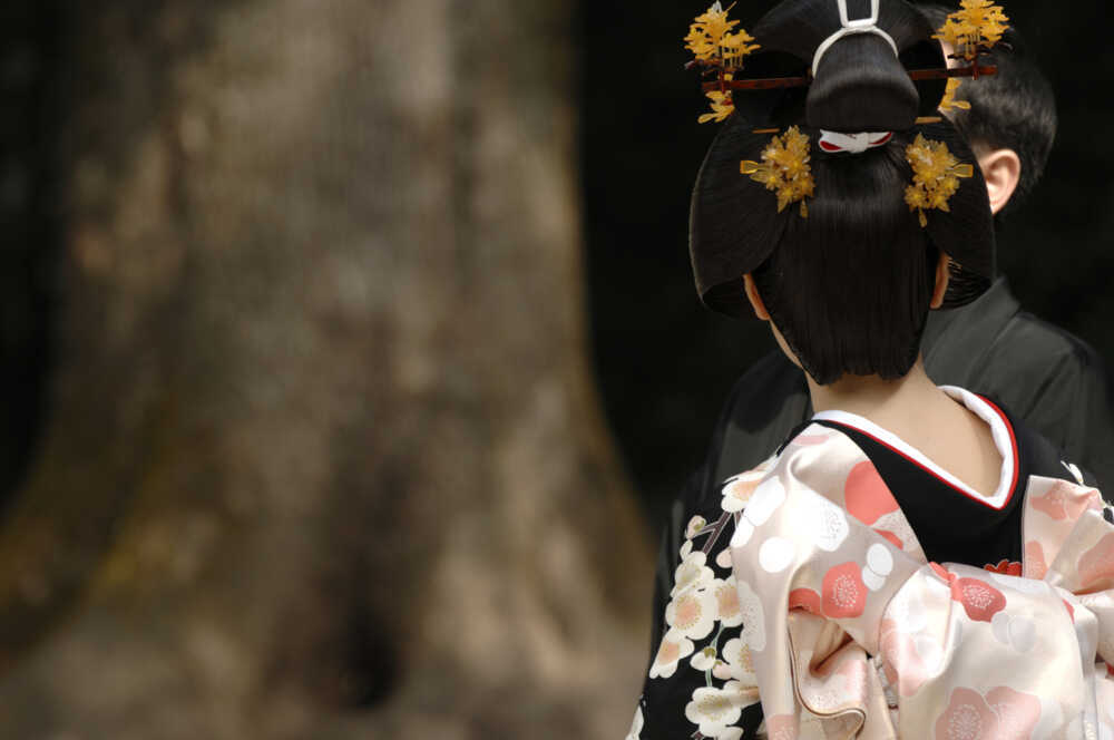 Japan cultural tour: traditional Japanese woman dressed with kimono