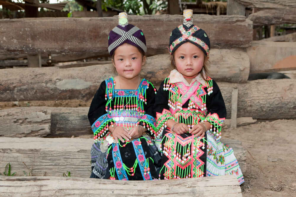 Laos Hmong girls wearing traditional clothes