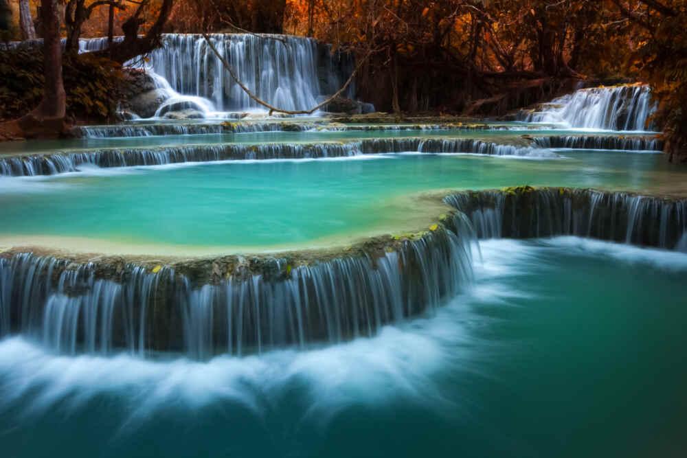 Relaxing tour of Laos: Waterfalls Kuang Si Fall