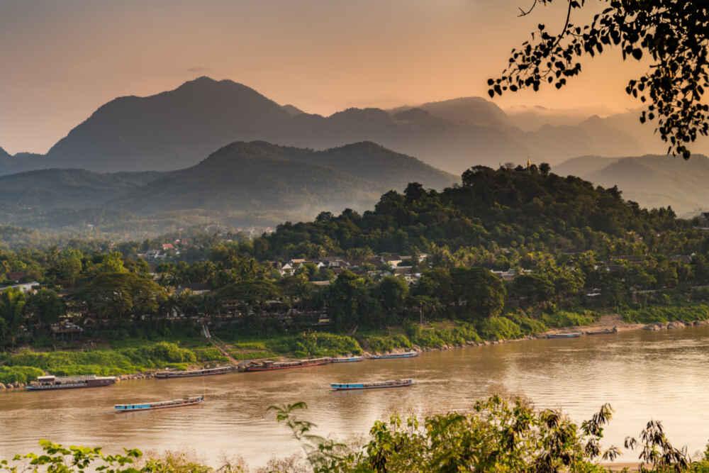 River view of world heritage site, Luang Prabang, Laos.