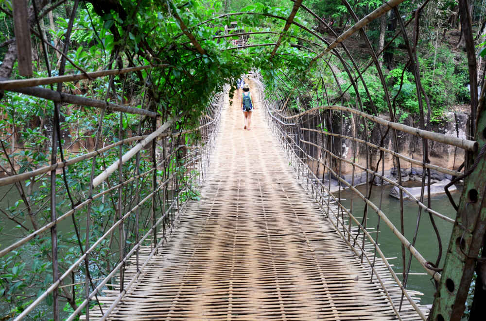 Suspension wooden and bamboo bridge in Laos 7 days itinerary