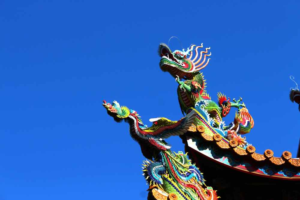 Chinese dradons and the blue sky from Taiwan