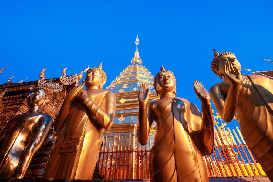 doi suthep wat phra tat with golden statues, near chiang mai