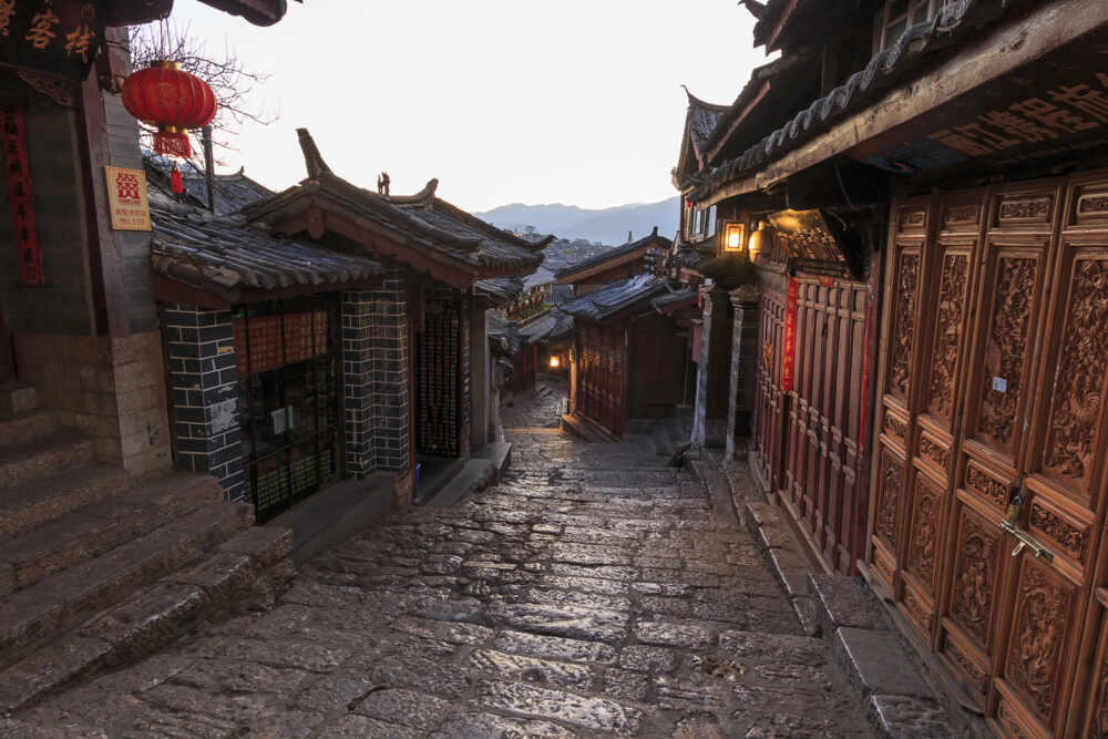 Lijiang Old Town in Yunnan, China at dusk