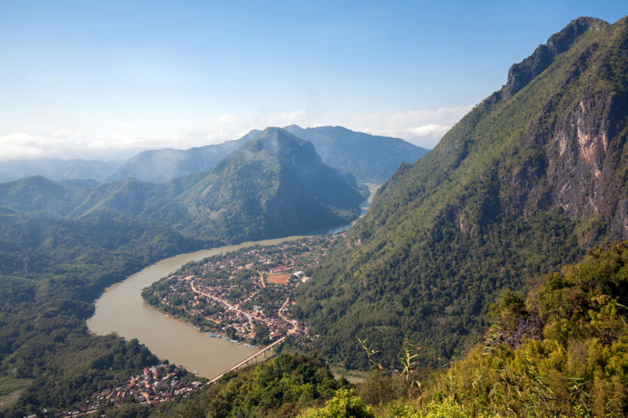 view on nong kiaw and Ou river from pha daeng peak, laos