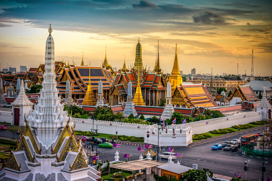 landscape of wat phra kaew at sunset