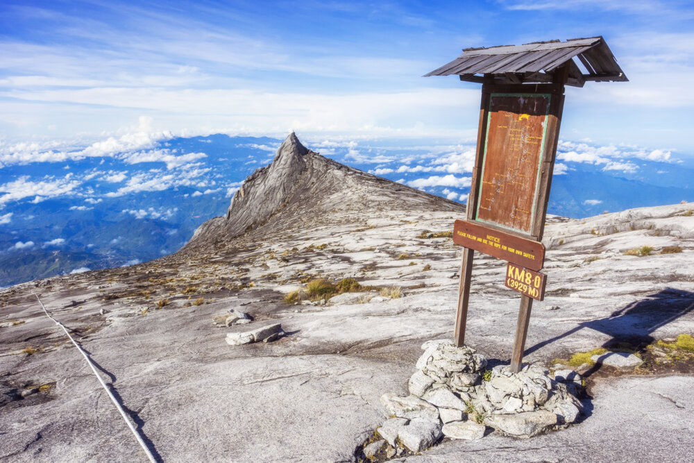 Checkpoint at the top of Mount Kinabalu in Sabah, Borneo, East Malaysia.